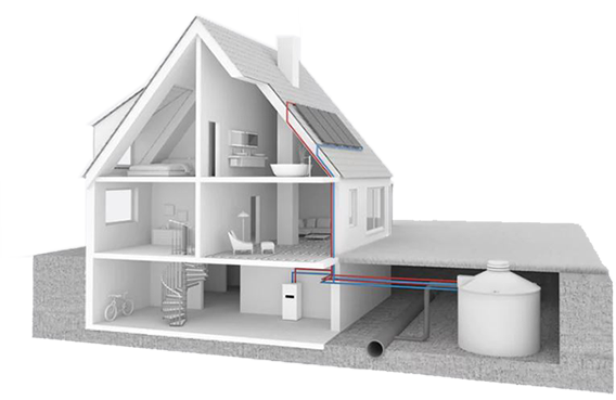 house with heat pump diagram